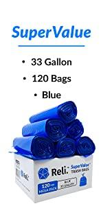Reli. 33 Gallon Trash Bags (Blue) (120 Count Wholesale) - High Density Rolls