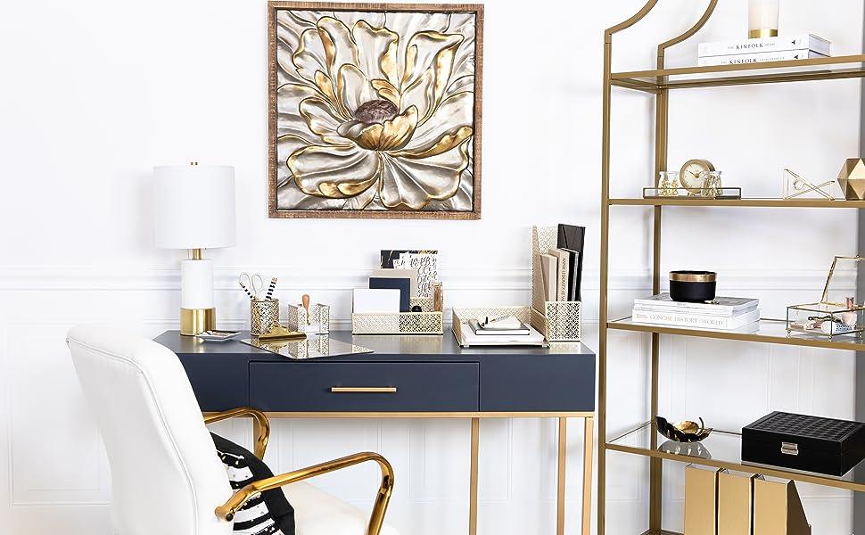Gold desk organizer set