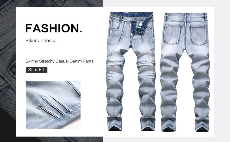 skinny biker slim fit straight mens jeans denim pants