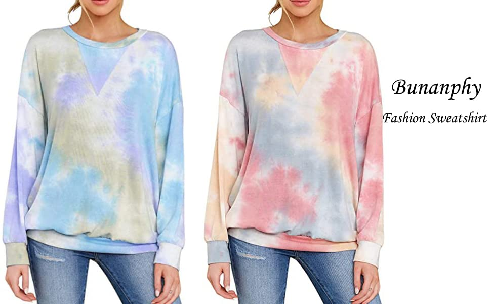 Bunanphy Women Tie Dye Crewneck Long Sleeve Sweatshirt Casual Loose Pullover Colorblock Shirts Tops
