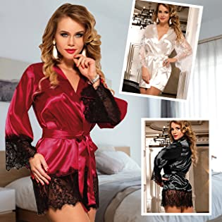 women satin robe with lace trim
