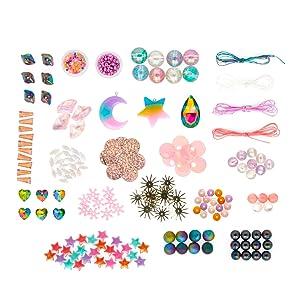 mystic jewelry kit beads charms cords art supplies fuzzy sticks glue felt beads diy art for kids
