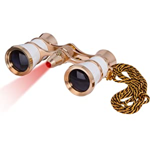 Levenhuk Broadway 325F Opera Glasses (white, with LED light and chain): LED illumination
