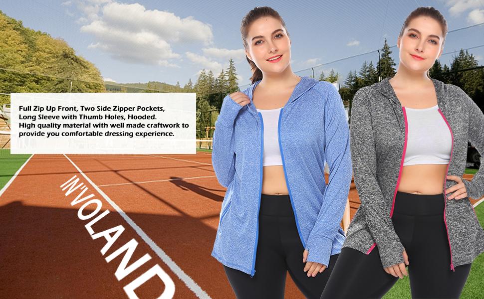 Hanna Nikole Womens Plus Size Workout Yoga Jacket Full Zip Running Track Jacket