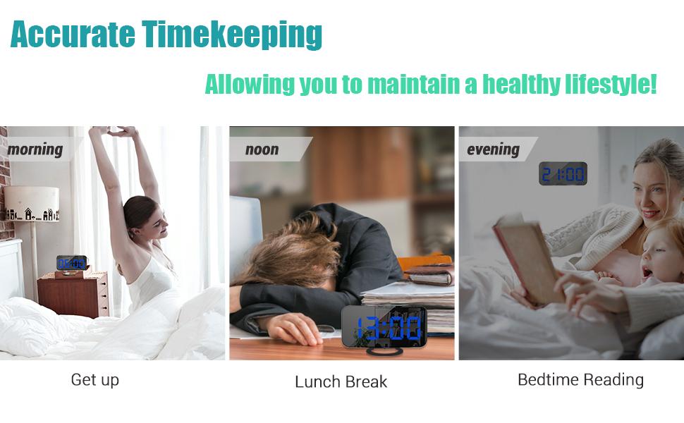 digital alarm clock black blue