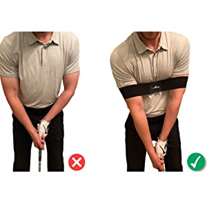 Golf Swing Trainer Aide Elbow Aid Band Sleeve Practice Motion Tool