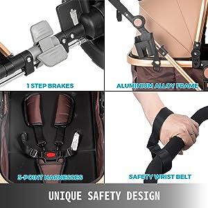 3 - VEVOR Baby Stroller 2 In 1 Stroller Bassinet Stroller Foldable Anti-Shock Newborn Stroller Baby Carriage Stroller Luxury Baby Trend Stroller Stroller For Baby Pram Stroller