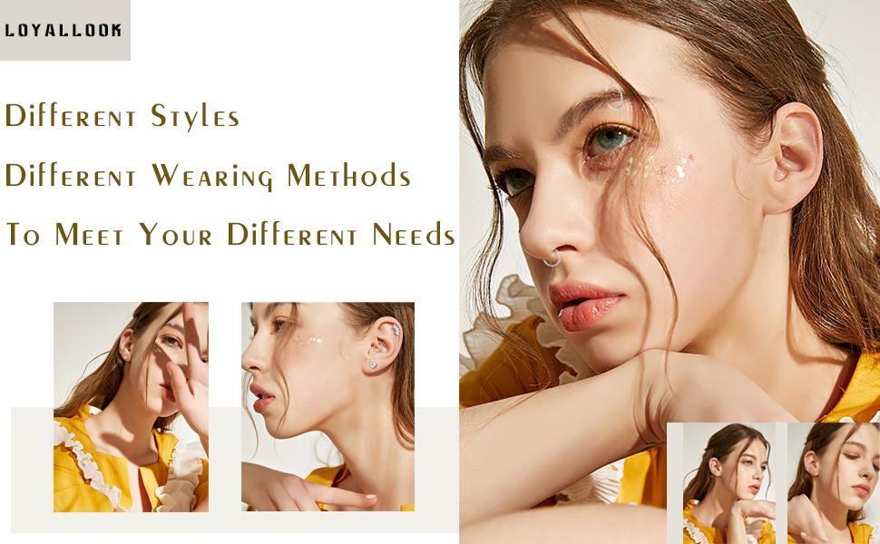 CZ Barbell Piercing Earrings Stud Body Piercing Jewelry for Men Women