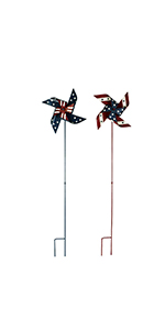 Set of 2, American Patriotic Metal Wind Spinner 4th of July Decoration