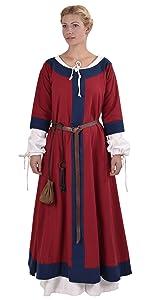 lang farbig Frauen Epoche Outfit Reenactment Kostüm traditionell Gewand mittelalterlich authentisch