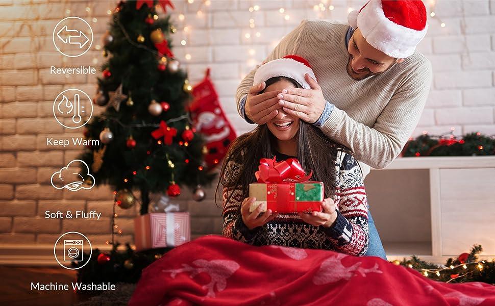 Bedsure Metallic Sherpa Fleece Christmas Blanket Features