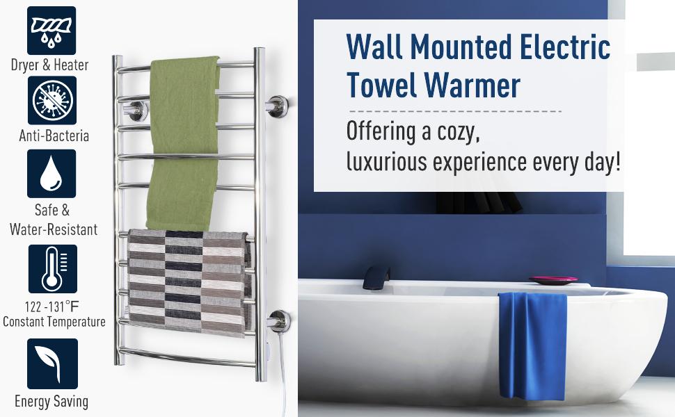 Curved Towel Warmer Wall Mounted Electric Heated Shelf