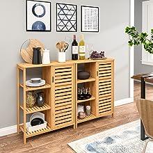Bathroom Storage Floor Cabinet Free Standing Cabinet Wooden Side Storage Organizer Cabinet