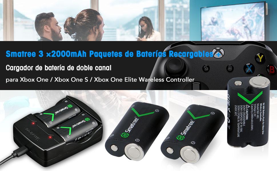 Smatree Batería de Controlador Xbox One, Batería Recargable 2000mAh NI-MH (3 Piezas) + Cargador de Batería Dual para Xbox One/Xbox One Elite/Xbox One ...