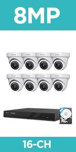 8x 8MP PoE Cameras System