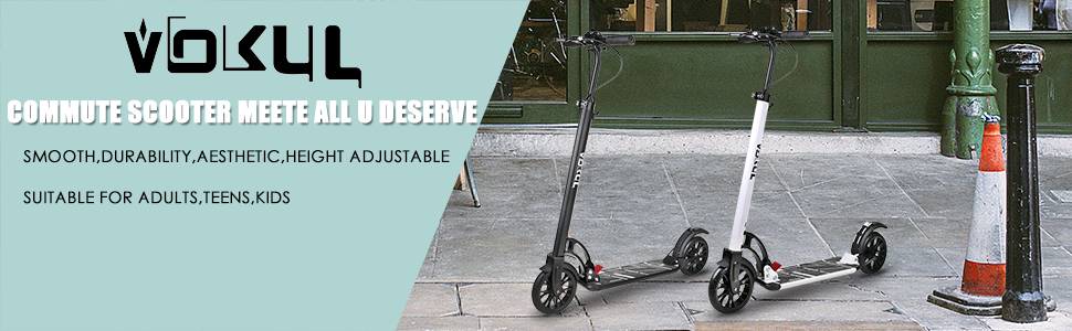 VOKUL Foldable Kick Scooter for Adults Teens Kids with Big 200mm Wheel,Hand Disc Brake Two-Wheels Commuter Scooter -Aesthetic Design,Full Aluminum ...