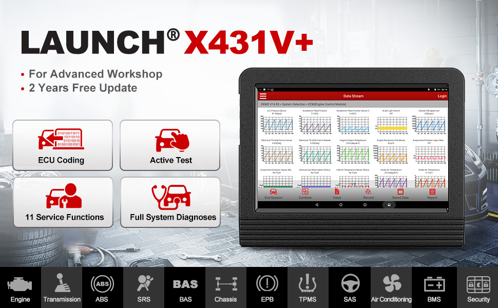 launch x431 v+ v pro scan tool diagnostic scanner active test ecu key injector coding abs bleeding