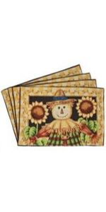 Tache Sunflower Field Scarecrow Thanksgiving Autumn Harvest Country Farmhouse Vintage Decorative Woven Tapestry Cushion Throw Pillow Cover 16 x 16 1 Piece 1PC11712-CC