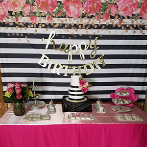 Allenjoy 7x5ft Photography backdrops Black and White Stripe Stripes Watercolor Pink Rose Flower Golden Glitter Circles Banner Birthday Party Event ...