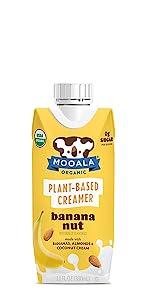 Dairy-free, non-gmo, plant-based, coffee creamer, banana