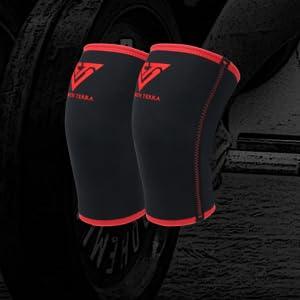 SCHWARZ 5MM Combo KIT 7mm Neopren Kniesch/ützer Powerlifting Fitness Gewichtheben Laufen Knieschoner St/ützkappe Kompression S.