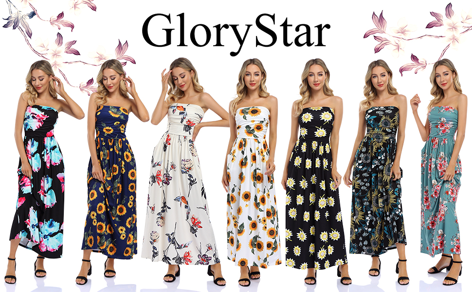 Glorystar Strapless Printed Maxi Dress