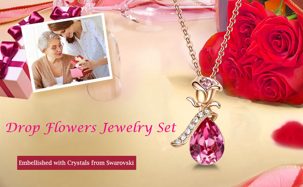 necklace for women gold crystal heart jewelry pendant gifts for her