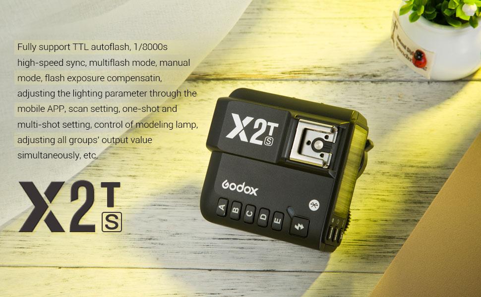 Godox X2T-S TTL 1//8000s HSS 2.4G /Émetteur de D/éclenchement sans Fil compatible avec Nikon DSLR Godox V1 TT350S AD200 AD200Pro iPhone Samsung