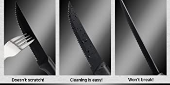 steak knives steak knife set kitchen accesories stainless steel black scratchless heavy duty
