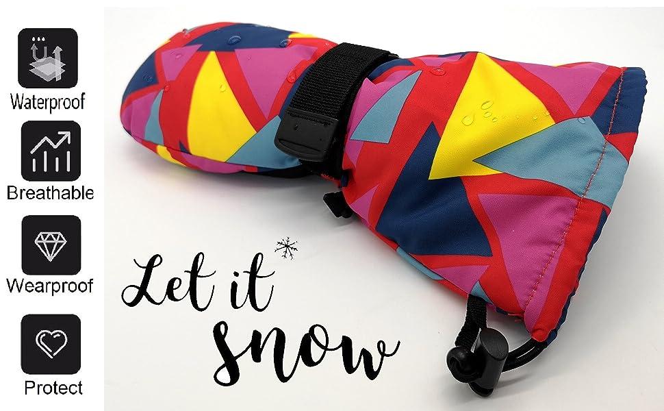 Highcamp Winter Waterproof Ski Snow Mittens for Infants Toddler Kids Boys Girls Jungle, 2-3 Years