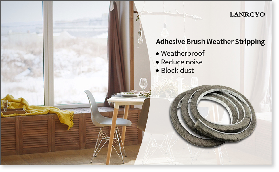 Tooperze Weather Stripping for Door,Self Adhesive Brush Window Seal Strip for House Windows Weatherproof Soundproof Dustproof 16 FT Length 0.350.35 inch
