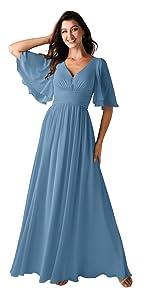 Half Sleeve Bridesmaid Dress