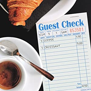 """Stock Your Home Guest Check Book (10 Books) 3.5"""" x 6.75"""" Server Note Pads and Waitress Order Pads"""
