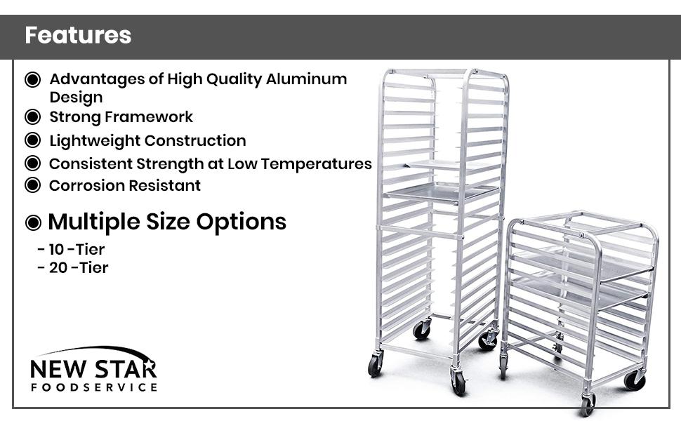 Amazon Com New Star Foodservice 36527 Commercial Grade Aluminum 20 Tier Sheet Pan Bun Pan Rack 26 L X 20 W X 69 H With Brake Wheels Kitchen Dining