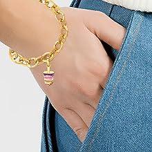 bracelet expandable bracelet charm bracelet gold bracelet gold charms gold plated bracelet jewelry