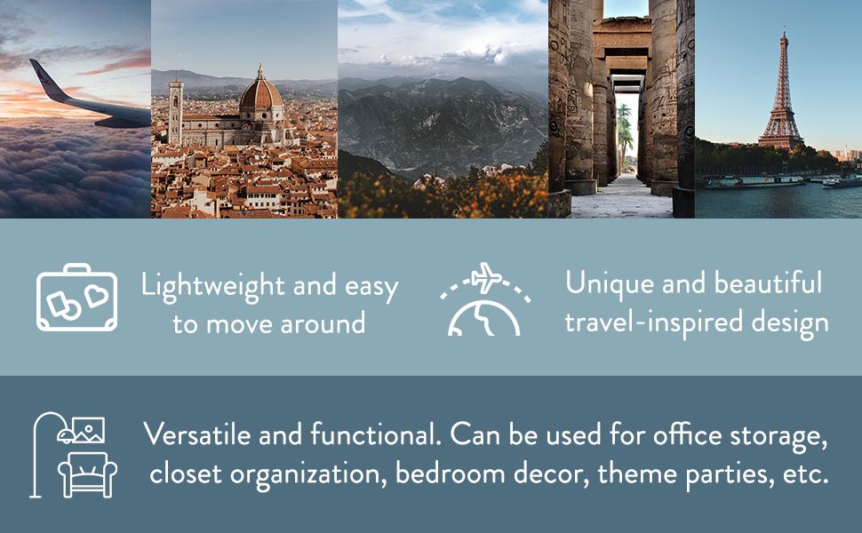 Decorative storage suitcases travel theme decoration props