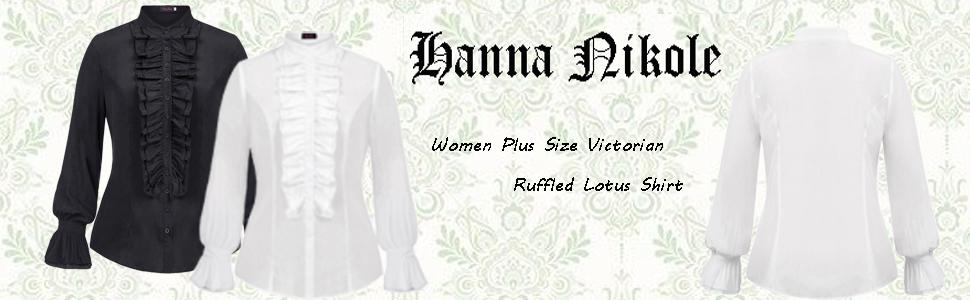 Women Plus Size Victorian Gothic Ruffled Lotus Shirt Blouse Tops
