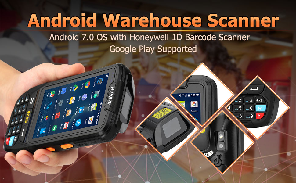 The MUNBYN IPDA018 is a Handheld Warehouse Terminal with Android 7.0+ 2D Scanner