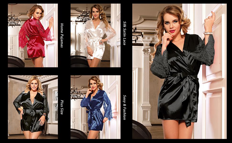 women satin Kimono Robe Silky