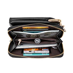 Wallet with outside cell phone pocket