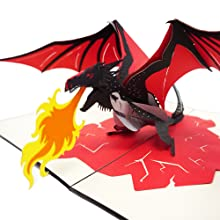 WOW Dragon Castle - 3D Pop Up Greeting Card for All Occasions Birthday,Love,Congratulations,Good luck,Anniversary,Get well,Good bye,Fathers ...