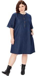 Roamans Women's Plus Size Denim Shirt Dress at Amazon Women's ...