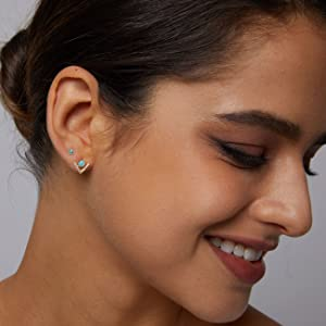 opal stud earrings with diamonds stacking earrings for women girls