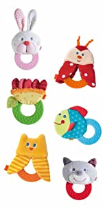 HABA Chomp Champ Cat Teether Soft Lightweight Rattle with Plastic Teething Ring for Babies from Birth and Up