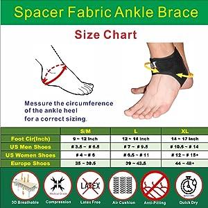 size,chart,irufa,ankle,wrap,brace,support,achillies,tendon,plantar,fasciitis,arthritis,men,women