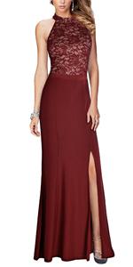Women's Halter Floral Lace Vintage Wedding Maxi Long Dress