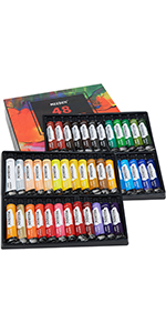 Acrylic Paint Set of 48 × 22ML Vibrant Colors in Tubes with Gold and Silver