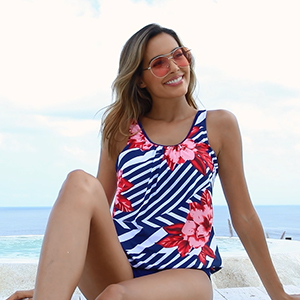casual loose fit swimsuits for women with triangle brief bottom s m l xl xxl tankini square neck