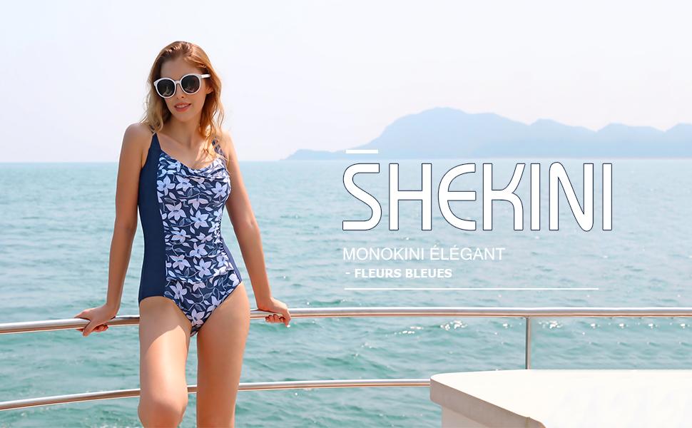 SHEKINI Femme Maillot de Bain 1 Pi/èce avec Bikini Jupette Vintage Sport Ruched Backless Abdominal Contr/ôle Col en V Crois/ées-Sangle Maillot Une Pi/èce Bikini Robe de Plage