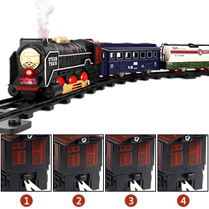 Kids Train Toys Set with 4 Cars and 16 Tracks for 3 4 5 6 Year Old Boys Girls